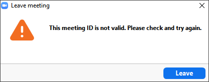 'This meeting ID is not valid.' Error Message