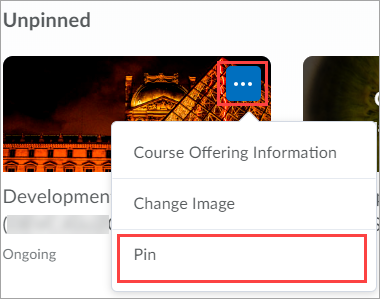 My course widget dropdown menu