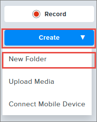 Create new folder screenshot