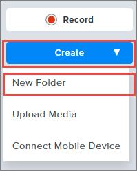 Snapshot of Create dropdown menu.