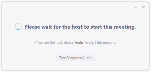 Screenshot of Please Wait for the Host to Start This Meeting error