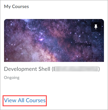 Screenshot of View All Courses Option