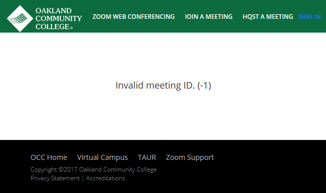 Screenshot of Invalid Meeting ID Error